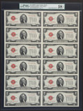 Small Size:Legal Tender Notes, Fr. 1508 $2 1928G Legal Tender Notes. Uncut Sheet of Twelve. PMG Choice About Unc 58 EPQ.. ...