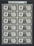 Small Size:Silver Certificates, Fr. 1604 $1 1928D Silver Certificates. Uncut Sheet of Twelve. PMG About Uncirculated 55 EPQ.. ...