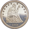 Proof Seated Quarters, 1866 25C PR65 Deep Cameo PCGS....