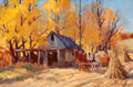 Fine Art - Painting, American:Contemporary   (1950 to present)  , KEN GORE (American, 1911-1990). Autumn Maples. Oil on canvaslaid on board. 20 x 30 inches (50.8 x 76.2 cm). Signed lowe...