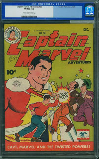 Captain Marvel Adventures #50 (Fawcett Publications, 1945) CGC VF/NM 9.0 Cream to off-white pages