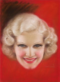 Mainstream Illustration, CHARLES GATES SHELDON (American, 1889-1960). Jean Harlow, moviemagazine cover. Pastel on board. 14 x 10.5 in.. Signed l...