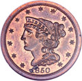 Proof Braided Hair Half Cents, 1850 1/2 C PR64 Red and Brown NGC. C-1, B-1, Low R.7 as a proof....