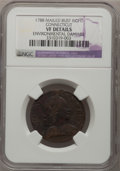 Colonials: , 1788 COPPER Connecticut Copper, Mailed Bust Right--EnvironmentalDamage--NGC Details. VF. NGC Census: (1/8). PCGS Populatio...
