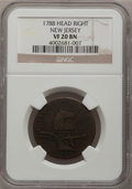 Colonials: , 1788 COPPER New Jersey Copper, Head Right VF20 NGC. NGC Census:(2/6). PCGS Population (5/40). (#521)...