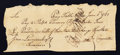 Colonial Notes:Connecticut, Connecticut Pay Table Office Payment £4 June 1, 1781 Very Fine.....