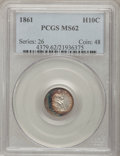 Seated Half Dimes: , 1861 H10C MS62 PCGS. PCGS Population (63/235). NGC Census:(53/327). Mintage: 3,361,000. Numismedia Wsl. Price for problem ...