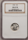 Mercury Dimes: , 1943 10C MS67 Full Bands NGC. NGC Census: (163/1). PCGS Population(188/3). Mintage: 191,710,000. Numismedia Wsl. Price for...