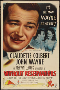 "Without Reservations (RKO, R-1953). One Sheet (27"" X 41"") Style A. Comedy"