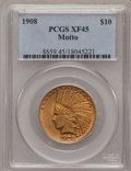 Indian Eagles: , 1908 $10 Motto XF45 PCGS. PCGS Population (21/3186). NGC Census:(10/3482). Mintage: 341,300. Numismedia Wsl. Price for pro...