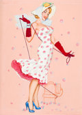 Pin-up and Glamour Art, AMERICAN ARTIST (20th Century). Opening the Fire Hydrant.Tempera and graphite on board. 23 x 17 in.. Not signed.Fr...