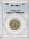 Proof Barber Quarters: , 1903 25C PR62 PCGS. PCGS Population (22/176). NGC Census: (10/198). Mintage: 755. Numismedia Wsl. Price for problem free NG...