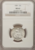 Seated Quarters: , 1889 25C MS62 NGC. NGC Census: (1/151). PCGS Population (5/164).Mintage: 12,000. Numismedia Wsl. Price for problem free NG...