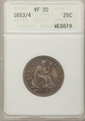Seated Quarters: , 1853/4 25C Arrows and Rays VF20 ANACS. NGC Census: (1/33). PCGSPopulation (3/55). Numismedia Wsl. Price for problem free ...