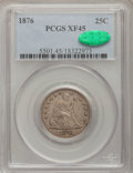 Seated Quarters: , 1876 25C XF45 PCGS. CAC. PCGS Population (16/508). NGC Census:(7/385). Mintage: 17,817,150. Numismedia Wsl. Price for prob...