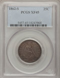 Seated Quarters, 1862-S 25C XF45 PCGS. PCGS Population (7/23). NGC Census: (2/25).Mintage: 67,000. Numismedia Wsl. Price for problem free N...