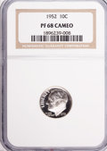 Proof Roosevelt Dimes, 1952 10C PR68 Cameo NGC. NGC Census: (33/1). PCGS Population (6/1).Numismedia Wsl. Price for problem free NGC/PCGS coin i...