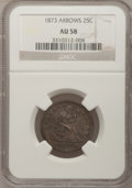 Seated Quarters: , 1873 25C Arrows AU58 NGC. NGC Census: (37/106). PCGS Population(34/120). Mintage: 1,271,700. Numismedia Wsl. Price for pro...