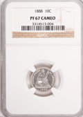 Proof Seated Dimes: , 1888 10C PR67 Cameo NGC. NGC Census: (8/0). PCGS Population (2/0).(#84785)...