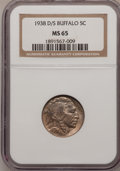 Buffalo Nickels: , 1938-D/S 5C MS65 NGC. NGC Census: (647/844). PCGS Population(1609/1647). Mintage: 7,020,000. Numismedia Wsl. Price for pro...