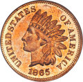 Proof Indian Cents, 1865 1C PR64 Red Cameo PCGS. CAC....