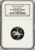 Proof Statehood Quarters: , 1999-S 25C Delaware Silver PR70 Ultra Cameo NGC. NGC Census: (330).PCGS Population (64). Numismedia Wsl. Price for proble...