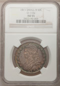 Bust Half Dollars, 1811 50C Small 8 AU55 NGC. O-110a. NGC Census: (61/296). PCGSPopulation (47/143). Mintage: 1,203,644. Numismedia Wsl. Pric...