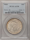 Bust Half Dollars: , 1818 50C AU58 PCGS. PCGS Population (59/97). NGC Census: (102/102).Mintage: 1,960,322. Numismedia Wsl. Price for problem f...