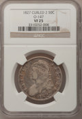 Bust Half Dollars, 1827 50C Curled Base 2 VF25 NGC. O-147. NGC Census: (17/1753). PCGSPopulation (24/1594). Mintage: 5,493,400. Numismedia W...