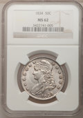 Bust Half Dollars: , 1834 50C Large Date, Large Letters MS62 NGC. NGC Census: (174/348).PCGS Population (83/142). Mintage: 6,412,004. Numismedi...