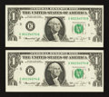 Error Notes:Inking Errors, Fr. 1908-E $1 1974 Federal Reserve Notes. Two Examples. Choice Crisp Uncirculated.. ... (Total: 2 notes)