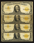 Large Size:Gold Certificates, Four Fr. 1173 $10 1922 Gold Certificates Very Good or Better.. ... (Total: 4 notes)