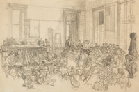 DEAN CORNWELL (American, 1892-1960) The Lindberg Kidnapping Trial, 1935 Pencil on paper 14.5 x 22