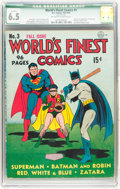 Golden Age (1938-1955):Superhero, World's Finest Comics #3 (DC, 1941) CGC Qualified FN+ 6.5 Off-white to white pages....