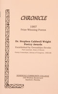Books:Signed Editions, Dr. Stephen Caldwell Wright Poetry Awards. Established by Gwendolyn Brooks. Sanford, Florida: Seminole Community Col...