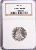 Proof Seated Quarters, 1864 25C PR63 Cameo NGC....