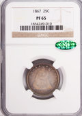 Proof Seated Quarters, 1867 25C PR65 NGC. CAC....