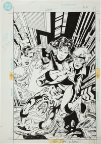 Dan Jurgens and Dave Cockrum Justice League America Annual #6 Cover Original Art (DC, 1992)