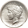 Errors, 1921 Peace Dollar--Broadstruck, Improperly Cleaned--NGC Details. Unc....