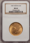 Indian Eagles: , 1907 $10 No Periods MS64 NGC. NGC Census: (688/563). PCGSPopulation (649/270). Mintage: 239,400. Numismedia Wsl. Pricefor...