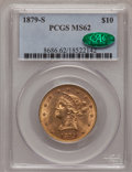 Liberty Eagles, 1879-S $10 MS62 PCGS. CAC....