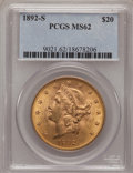 Liberty Double Eagles: , 1892-S $20 MS62 PCGS. PCGS Population (1171/608). NGC Census:(1343/401). Mintage: 930,150. Numismedia Wsl. Price for probl...
