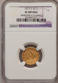 Liberty Quarter Eagles: , 1873-S $2 1/2 --Improperly Cleaned--NGC Details. XF. NGC Census:(18/208). PCGS Population (18/92). Mintage: 27,000. Numisme...