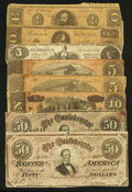 Confederate Notes:Group Lots, An Assortment of Eight Confederate Notes.. ... (Total: 8 notes)