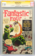 Silver Age (1956-1969):Superhero, Fantastic Four #1 Signature Series (Marvel, 1961) CGC FN/VF 7.0Off-white pages....