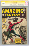 Silver Age (1956-1969):Superhero, Amazing Fantasy #15 Signature Series (Marvel, 1962) CGC FN/VF 7.0Off-white to white pages....