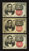 Fractional Currency:Fifth Issue, Fr. 1265 10¢ Fifth Issue Two Examples XF or Better. Fr. 1266 10¢ Fifth Issue XF.. ... (Total: 3 notes)