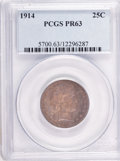 Proof Barber Quarters: , 1914 25C PR63 PCGS. PCGS Population (28/110). NGC Census: (19/140). Mintage: 380. Numismedia Wsl. Price for problem free NG...