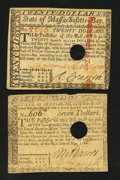 Colonial Notes:Massachusetts, Massachusetts May 5, 1780 $7 and $20.. ... (Total: 2 notes)