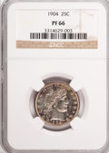 Proof Barber Quarters, 1904 25C PR66 NGC....
